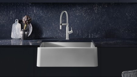 Ikon 33 Farmhouse Kitchen Sink in SILGRANIT Concrete Gray