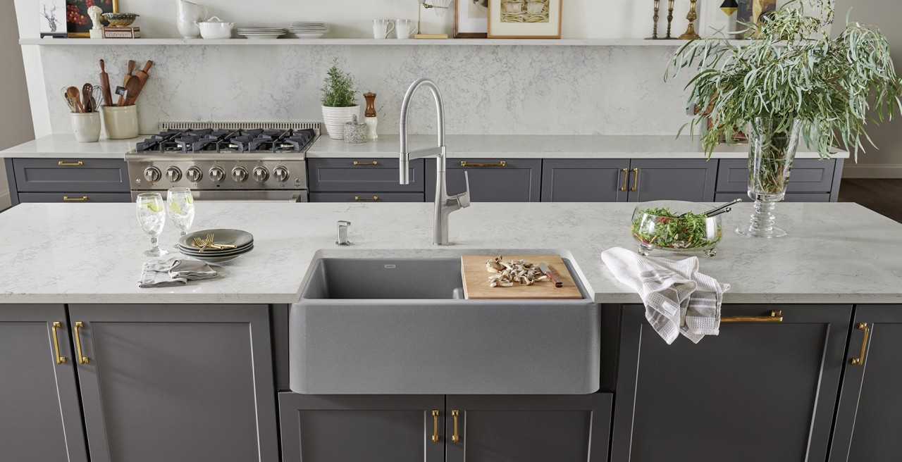 Ikon 33 1.75 Low Divide Farmhouse Kitchen Sink in metallic gray with Rivana Semi Pro Kitchen Faucet
