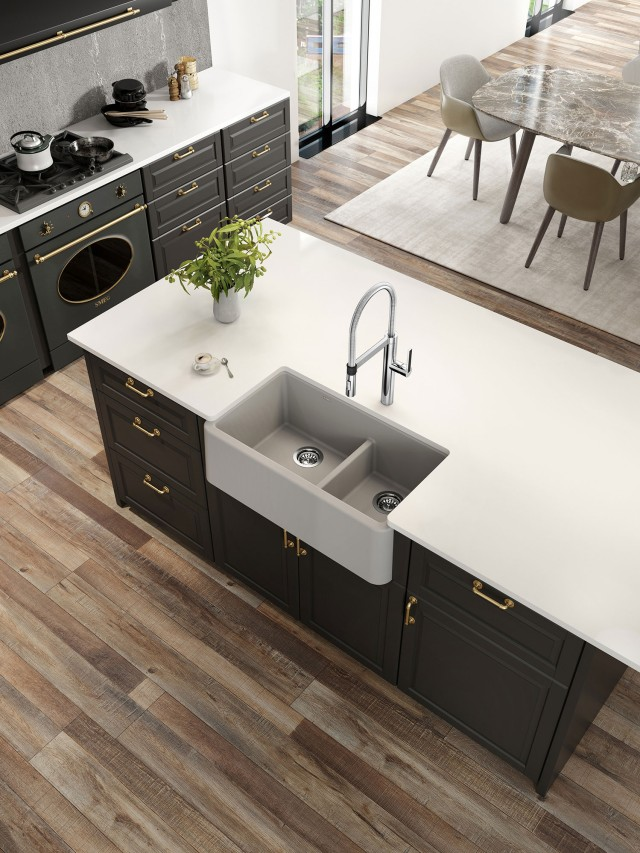 Ikon 33 1.75 Low Divide Farmhouse Kitchen Sink in concrete gray with Rivana Semi Pro Kitchen Faucet