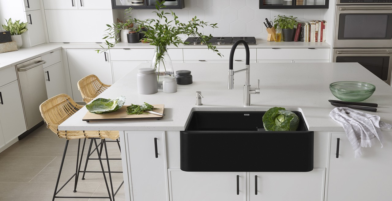 Ikon 30 Farmhouse Kitchen Sink in BLANCO coal black with Catris Flexo Kitchen Faucet in PVD Steel