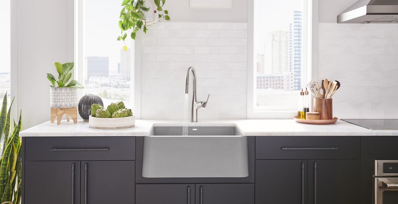 Ikon 27 Farmhouse Kitchen Sink in BLANCO concrete gray with Rivana High Arc Kitchen Faucet