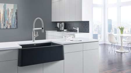 Apron front sinks are ergonomic as you don't have to reach over the counter to wash dishes