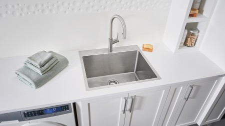 QUATRUS R15 Laundry or Utility Room Sink with Artona Kitchen Faucet and Laundry Rack