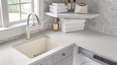 Liven Laundry Sink in Biscuit | Artona Faucet in Dual Finish Stainless Steel/Biscuit