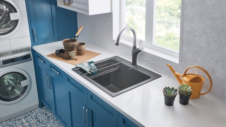 Liven Laundry Silgranit Sinks with Artona Kitchen Faucet