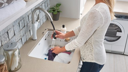 Liven Laundry Sink with Artona Kitchen Faucet and Laundry Rack