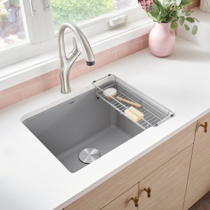 Liven in SILGRANIT concrete gray with Artona kitchen faucet and laundry rack