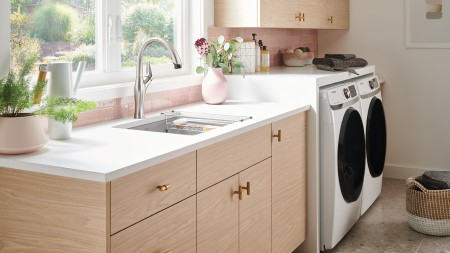 Liven Laundry Sink in Concrete Gray with Artona Kitchen Sink and Laundry Rack