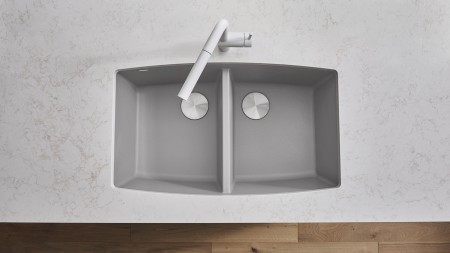 PERFORMA U 2 - Double Bowl Kitchen Sink in SILGRANIT Concrete Gray