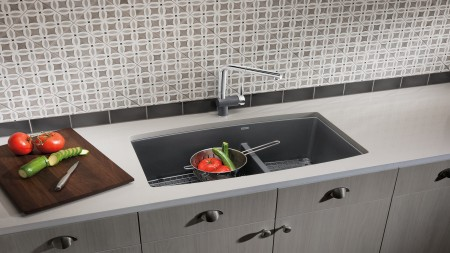 PERFORMA SILGRANIT Kitchen Sink with Walnut Cutting Board