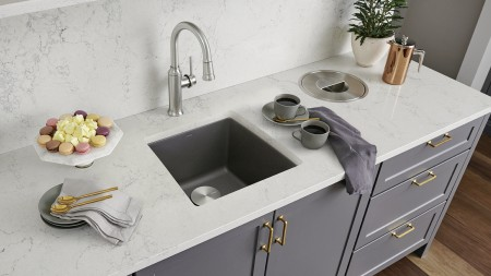 Performa bar sink in metallic gray with Empressa bar faucet in PVD steel