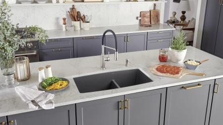 Performa 60/40 Kitchen Sink in Cinder | Empressa Semi Pro and Empressa Soap Dispenser in PVD Steel