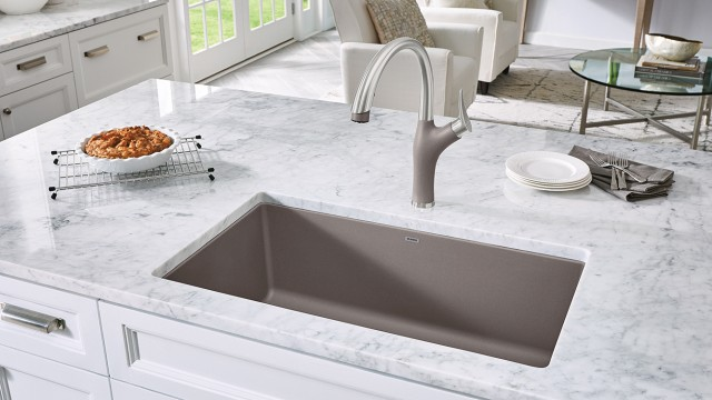 Precis U Super Single in Truffle with Artona Kitchen Faucet in Dual Finish Stainless Steel/Truffle