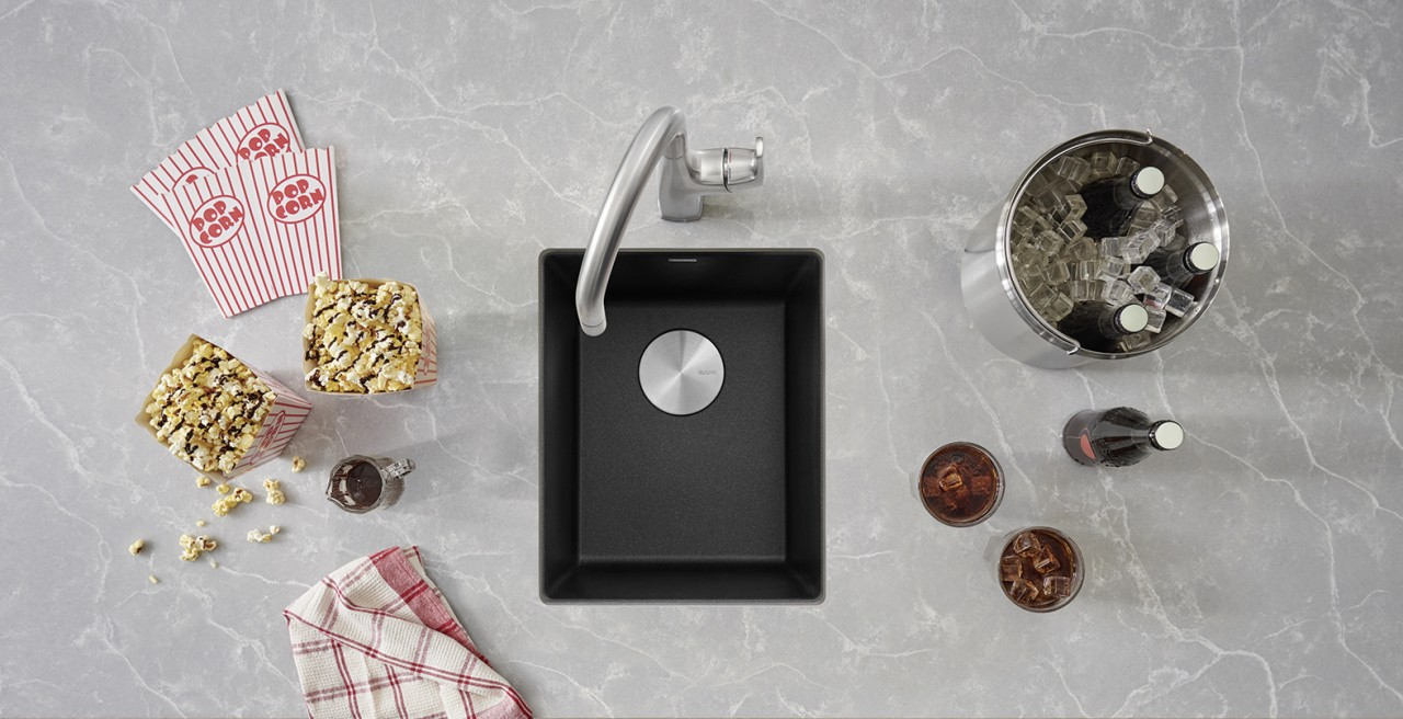 Precis bar sink in anthracite with Rivana bar sink in PVD steel