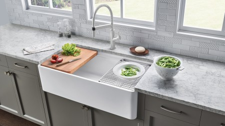 Precis with Drainboard Kitchen Sink and Beech Cutting Board