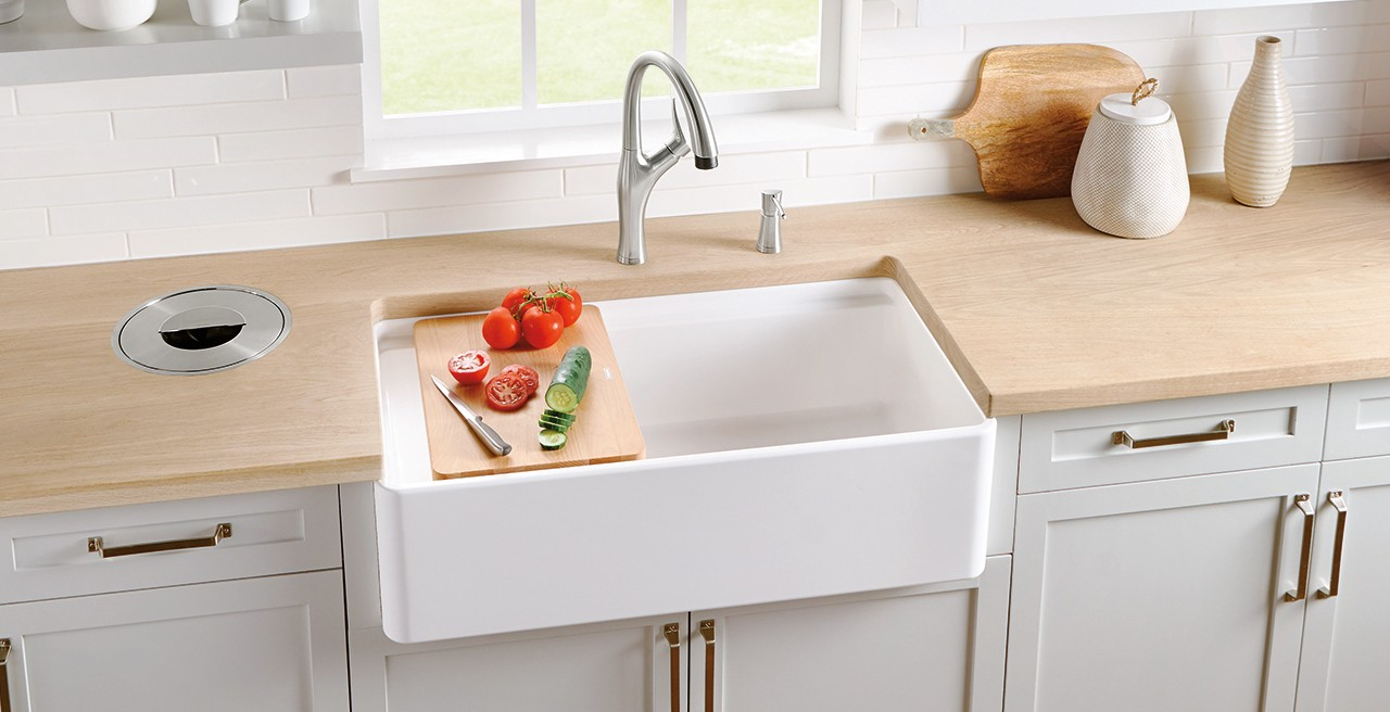 Profina Fireclay Farmhouse Kitchen Sink in Glossy Ceramic White by BLANCO