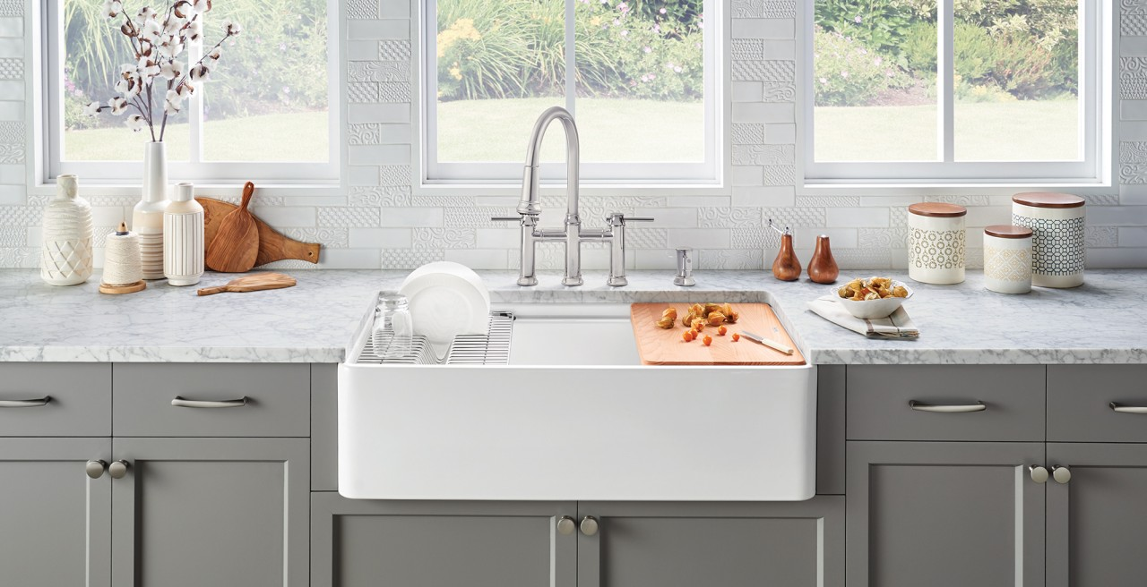 Profina Ceramic Farmhouse Sink in Ceramic White by BLANCO