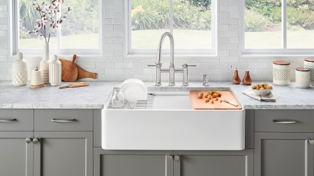 Profina Fireclay Farmhouse Sink with Empressa Bridge Kitchen Faucet and Soap Dispenser