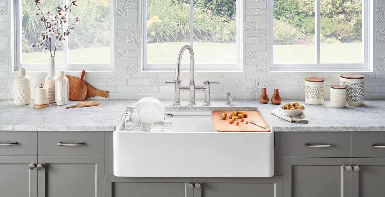 Profina Fireclay Farmhouse Sink with Empressa Bridge Kitchen Faucet and Soap Dispenser