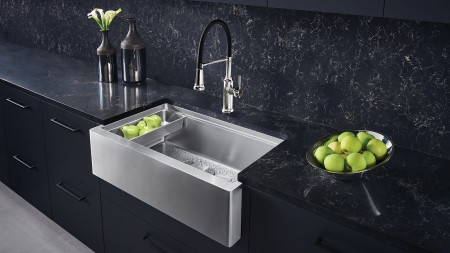 QUATRUS R15 Ergon Apronfront Farmhouse Kitchen Sink durable Stainless Steel