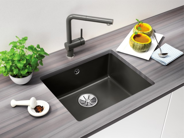 Caption: Ceramic sinks also look great in basalt.