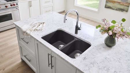 VISION U 2 - Undermount Double Bowl Kitchen Sink in SILGRANIT Anthracite