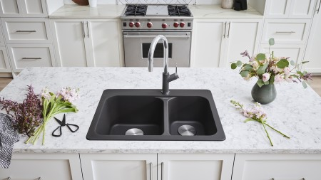 BLANCO VISION 1.5 - Drop-in Double Bowl Kitchen Sink in SILGRANIT Anthracite