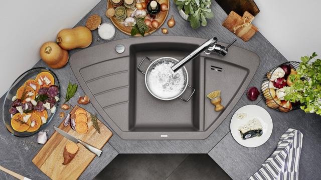 Угловые мойки BLANCO — это компактное решение для маленьких кухонь