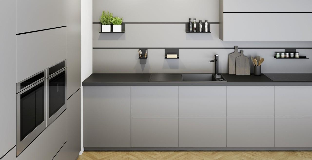 Küche ganz in grau und schwarz