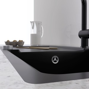 Flushmount sinks feature straight lines and exude calm. The sink fits smoothly into the surface