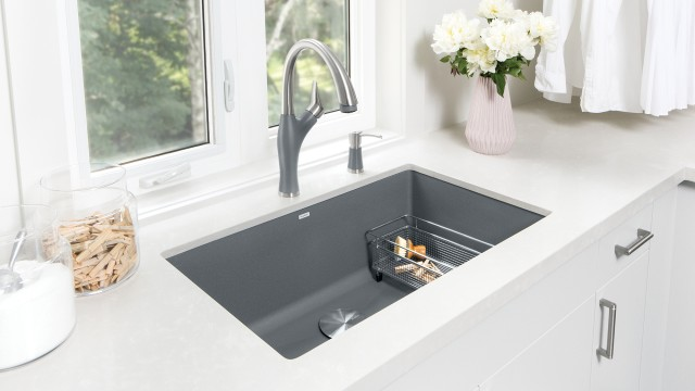 Artona Kitchen Faucet in Dual Finish Metallic Gray/Stainless Finish
