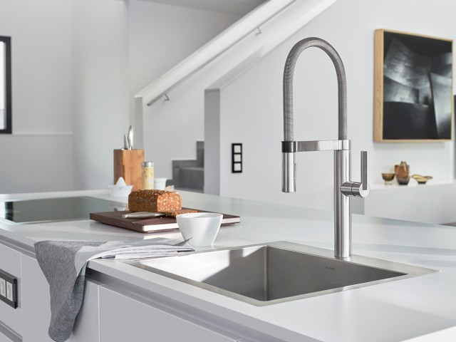 BLANCOCULINA Semi-Professional Kitchen Faucet in Classic Steel