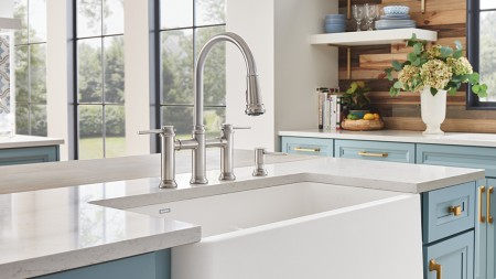 Empressa Bridge Kitchen Faucet in Stainless Finish - Classic Traditional Style by BLANCO