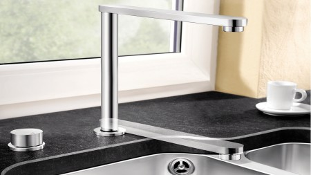 Retractable window-facing mixer taps