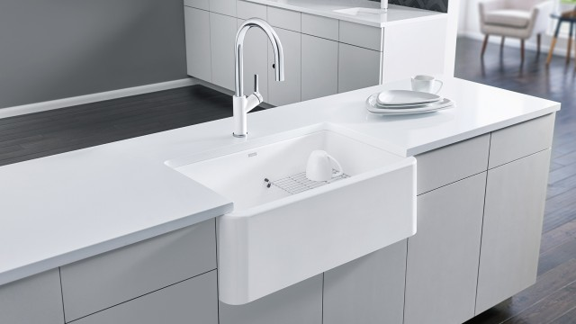 Urbena Kitchen Faucet in Dual Finish White/Chrome