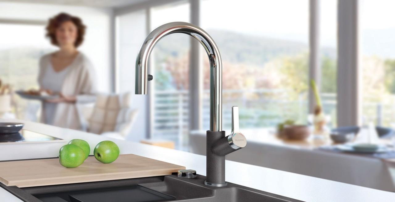 Urbena Kitchen Faucet in Stainless Steel and SILGRANIT Cinder - Dual Finish Faucets