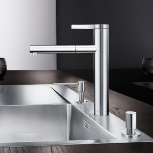 LINEE kitchen mixer taps look clean and elegant on all high-quality sinks