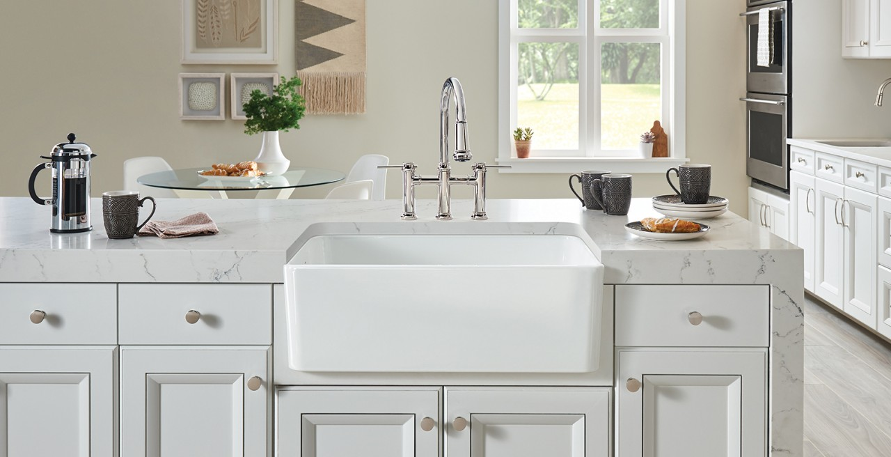 Cerana Fireclay Farmhouse Kitchen Sink in Glossy Ceramic White by BLANCO