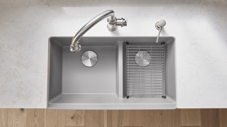 IKON 33 1.75 LOW DIVIDE - Double bowl sink with a low partition in SILGRANIT Concrete Gray