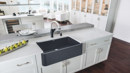 IKON 30 in SILGRANIT ANTHRACITE with Artona Kitchen Faucet in Dual Finish Anthracite