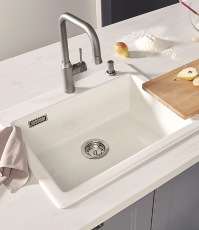 A clean, white sink