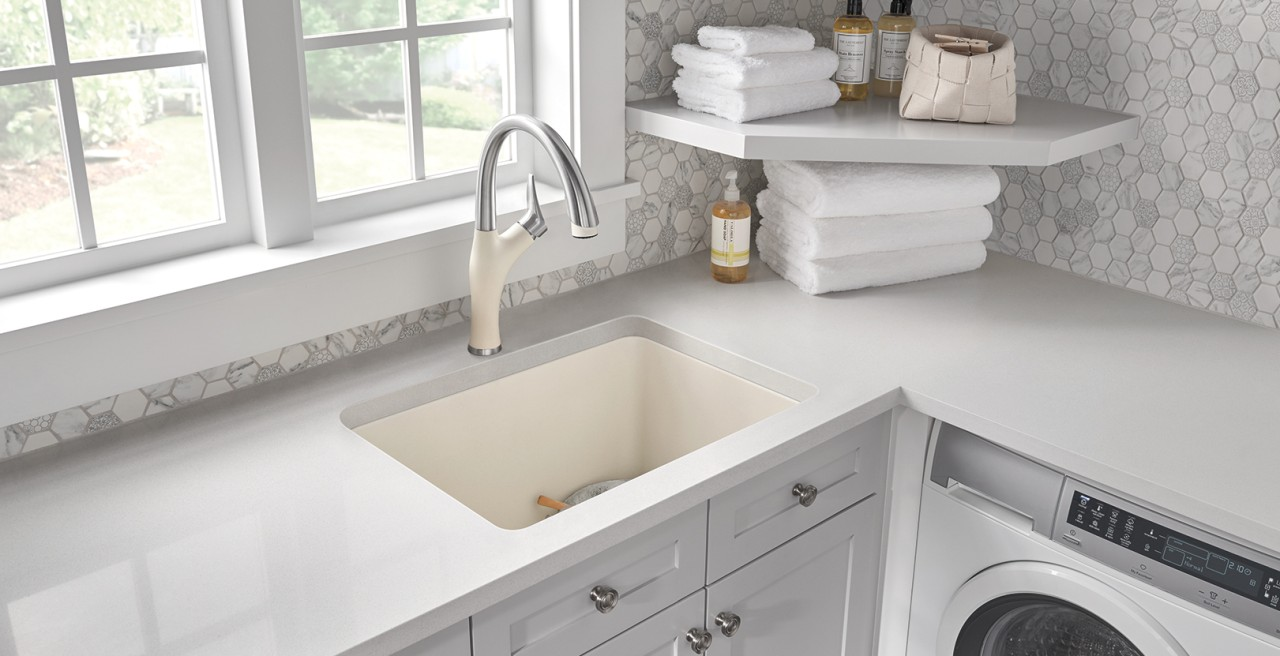 Liven Laundry Sink in Biscuit Silgranit - Convenient dual mount installation!