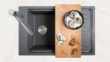 Precis SILGRANIT Kitchen Sinks with Ash cutting board