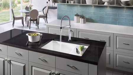 The BLANCO PRECIS with drainboard can be installed as a drop-in or an undermount