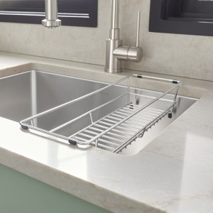 Quatrus R15 Laundry Room Sink in Premium Stainless Steel with Laundry Rack