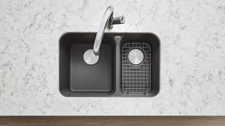 VISION 1.5 - Offset Double Bowl Kitchen Sink in SILGRANIT