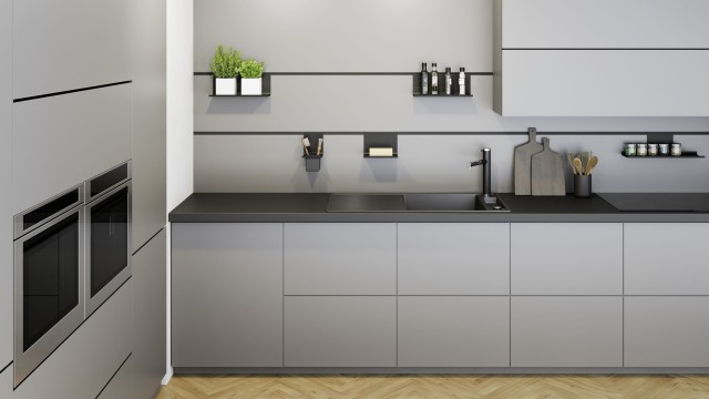 Kitchens with pale furniture match perfect with sinks and mixer taps in SILGRANIT® PuraDur® black.
